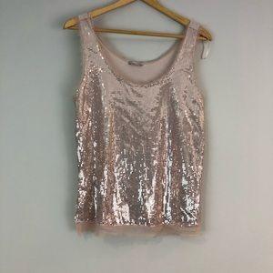Zara rose gold sequin tank top M